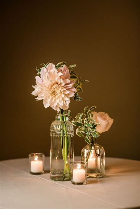 Vintage Clear Glass Bud Vases With Blush Dahlias Roses Glass Vase Table Centerpieces
