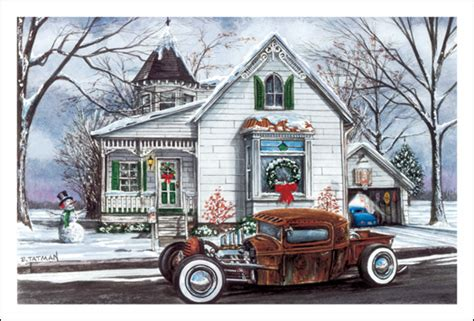 christmas cards rat rod winter pack   hot rod racing christmas cards whites pit stop