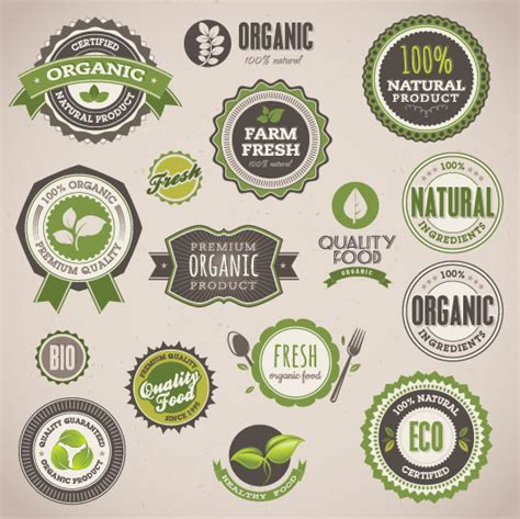 design organic label set of organic food labels vector free vector in