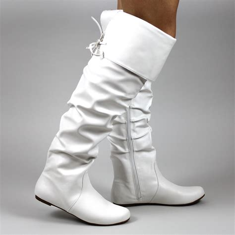 white boots for flat thigh high boots white suede knee boots