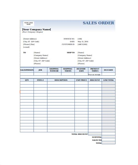 sales order form template order form template 22 free documents in pdf