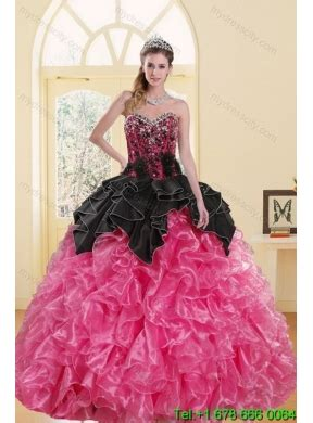 Dress Pink 14418 2015 beading and ruffles sweet 16 dresses in multi color mydresscity