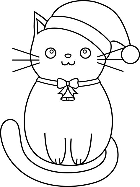 Christmas Kitty Coloring Page | christmas cat line art free clip art