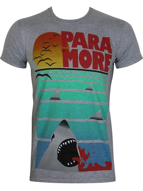 Kaos Band Paramore Merchendise Official 14 paramore shark attack grey unisex slim fit t shirt buy