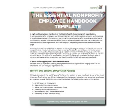 The Essential Nonprofit Employee Handbook Template Nonprofit Hr Employee Benefits Handbook Template