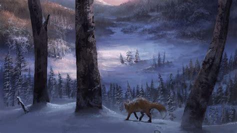 lone fox   winter forest hd wallpaper wallpaper