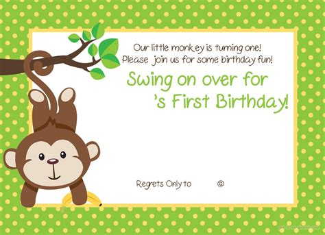 free printable 1st birthday invites free printable 1st monkey birthday invitation free