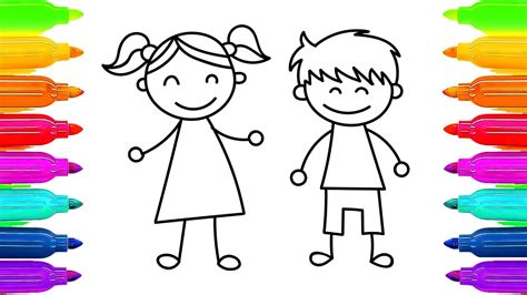 drawing images for kids how to draw kids girl and boy learning coloring pages