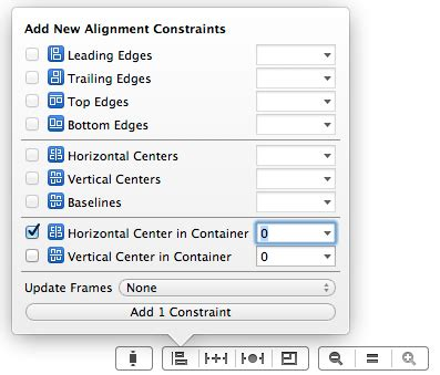 xcode layout center working with ios 7 auto layout constraints in interface