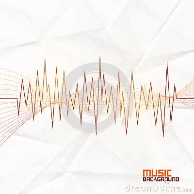 Paper Card Wave Template by Sound Wave On Paper Background Abstract Equalizer Stock