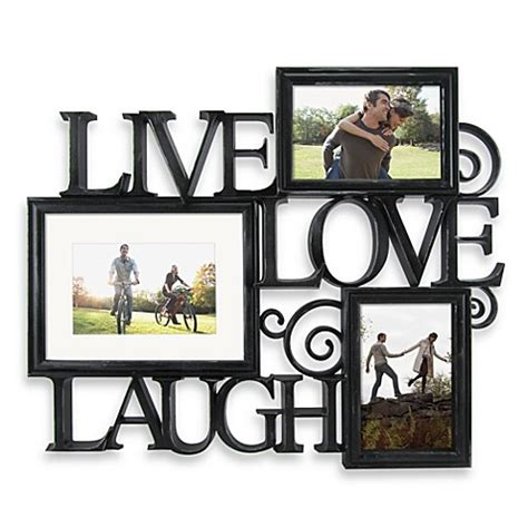 bathroom decor picture frames three photo live love laugh scroll wall collage in black