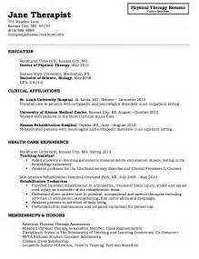 physical therapy resume template tips physical therapist sle resume recentresumes