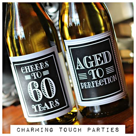 wine birthday decorations 60th birthday decor wine labels set of 4 black