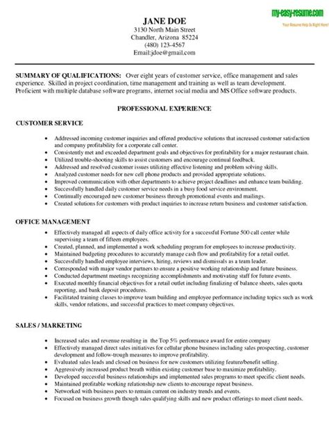 summary of qualifications sle resume for customer service customer service resume qualifications