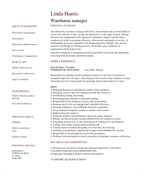 warehouse description resume data warehouse manager