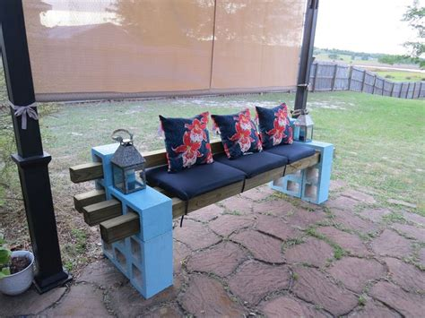 concrete block bench diy patio bench using concrete cinder blocks 4x4 wood and cushions my completed