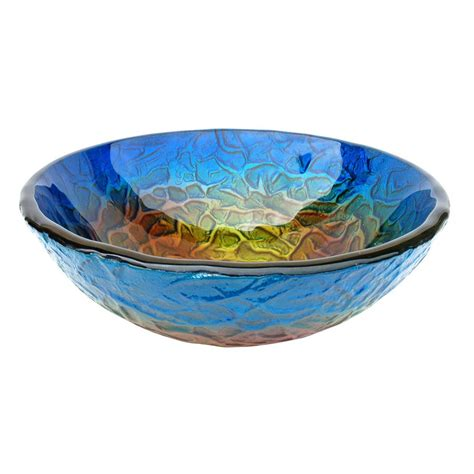 glass vessel bathroom sinks shop eden bath blue glass vessel round bathroom sink at
