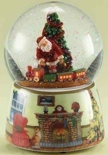 rotating train snow globe 5 5 quot musical santa claus with rotating snow globe glitterdome