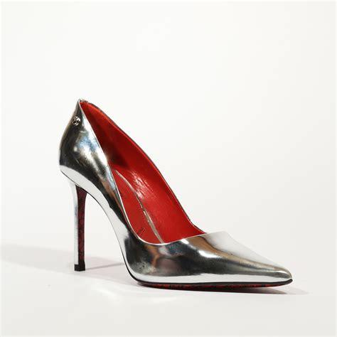 silver metallic high heel shoes cesare paciotti s mirror metallic silver high heel