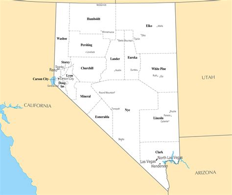 map of with major cities large administrative map of nevada state with major cities