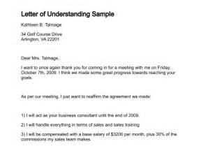 Business Letter Of Understanding Sample Letter Of Understanding Template Free Printable Documents