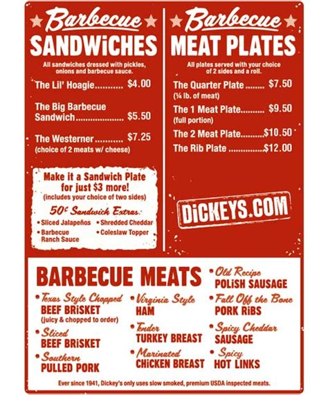 Tops Bar Bq Menu by Menu For Dickey S Barbecue Pit 21073 Powerline Road Suite 33