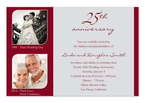 25th wedding anniversary invitation cards templates 25th wedding anniversary invitation wording ideas