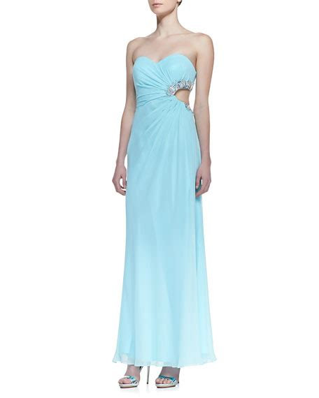 strapless gown with cutout sides by faviana strapless beaded cutout side gown seafoam