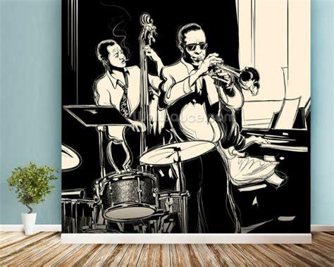 jazz wallpaper for walls jazz black white wallpaper wall mural wallsauce