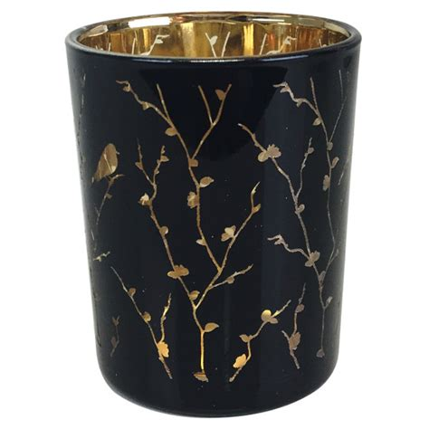 Black And Gold Candle Holders Glass Votive Candle Holder 2 75 Quot Birdie Branch Black And Gold