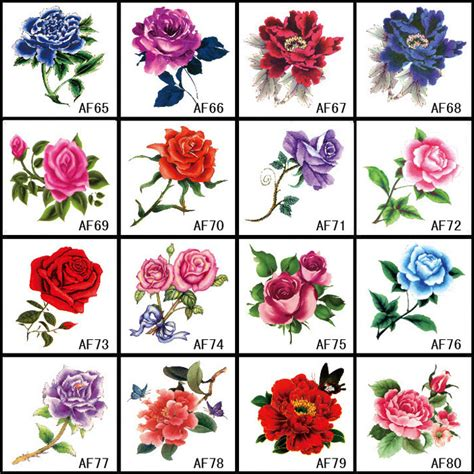 16pcs lot waterproof colorful small rose flower tattoo