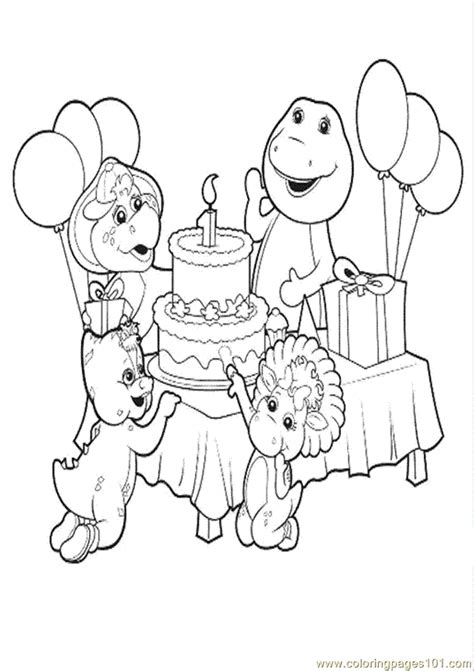 barney birthday coloring page free barney coloring pages