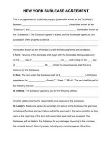 Sublease Agreement Template Word Free New York Sublease Agreement Template Pdf Word