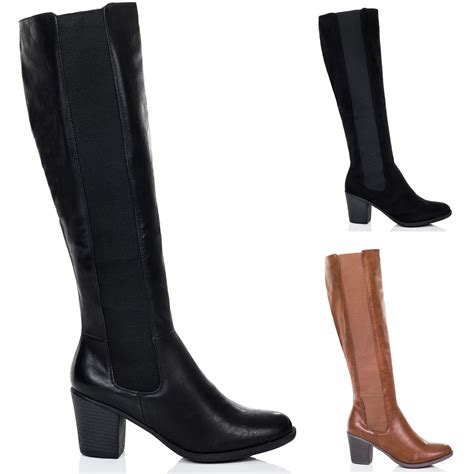 womens stretch block heel knee high boots sz 3 8 ebay