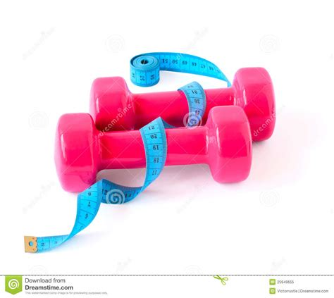Dumbell Pink Pink Dumbbells And Blue Meter Royalty Free Stock Photo