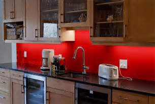 glass backsplash kitchen decorating ideas with red accents red subway tile