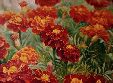 marigold paint marigolds painting by ruslan sabiroff