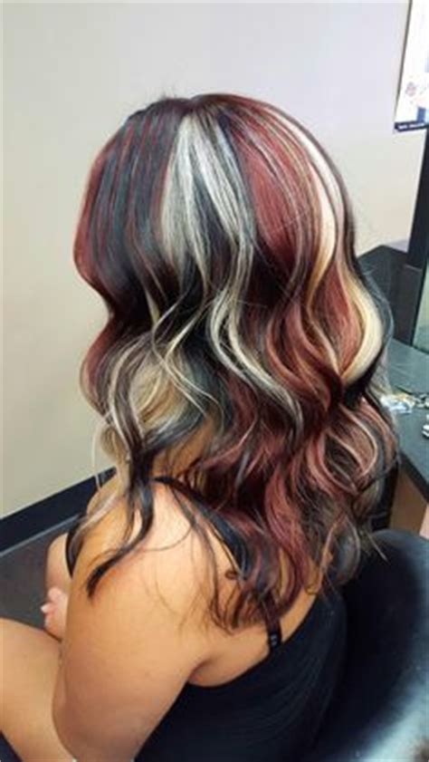 black and silver low lights platinum blonde with chocolate lowlights and burgundy