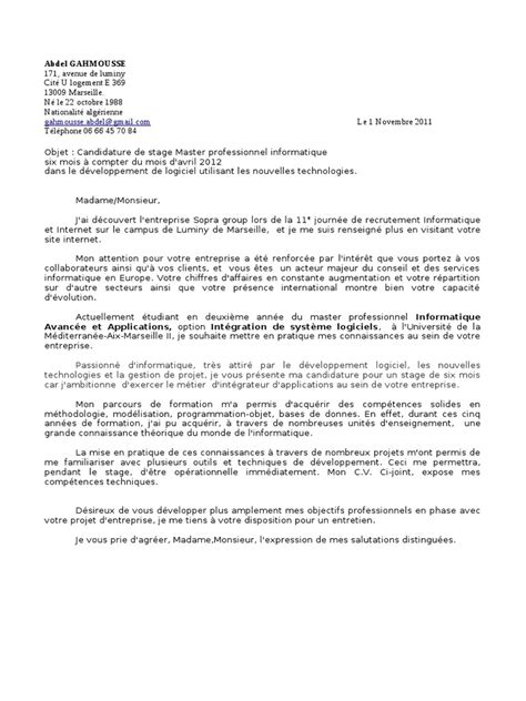 Lettre De Motivation Stage Informatique Lettre De Motivation Stage Sopra
