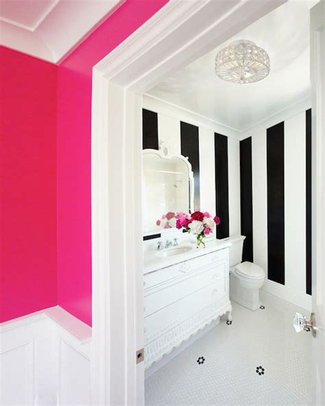pink black and white bathroom decor neon pink wall paint contemporary bathroom benjamin