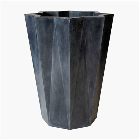 Contemporary Tall Geometric Planter Stone Pottery Stone Modern Planters