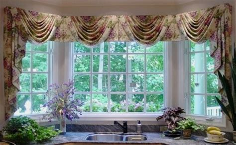 kitchen bay window swag jabots transitional curtains
