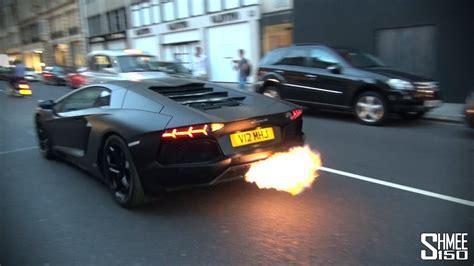 CRAZY FLAMES   Matte Black Lamborghini Aventador   YouTube