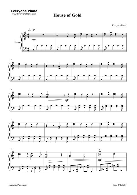 house of gold twenty one pilots piano sheet music house of gold twenty one pilots stave preview 1 free piano sheet music piano chords