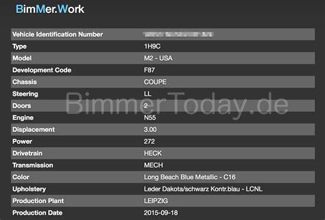 bmw vin decoder bmw m2 vin decoder provides further information on the