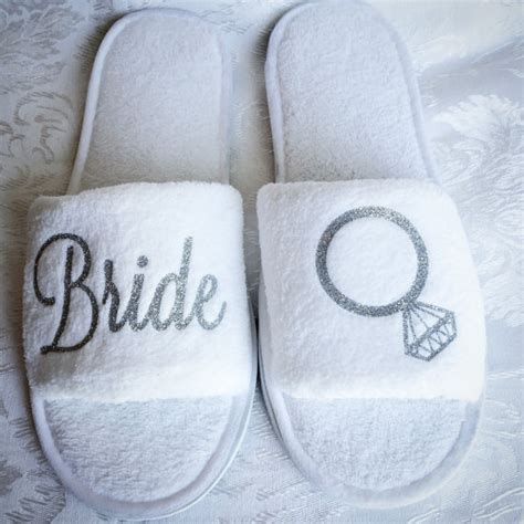 bridal slippers spa slippers decorated with silver glitter and