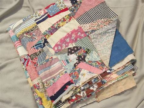 Sewn Patchwork Quilt - vintage quilt top stitched quilt patchwork in