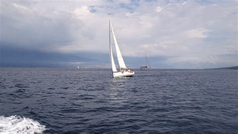 sailing boat video clips sailing boat navigating in the sea with open sails stock