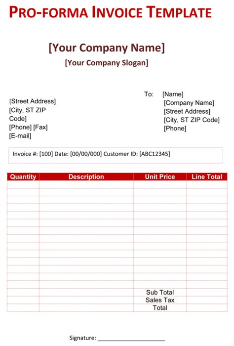 Proforma Invoice Templates 14 Free Word Excel Pdf Sleformats Org Invoice Sle Pro Forma Template For Startup
