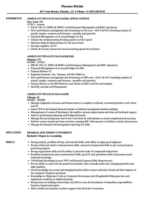assistant finance manager resume format assistant finance manager resume sles velvet